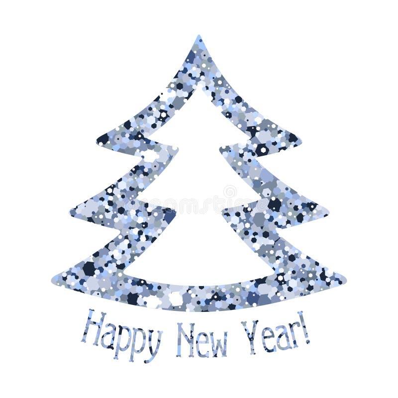银色蓝色衣服饰物之小金属片圣诞树  向量例证