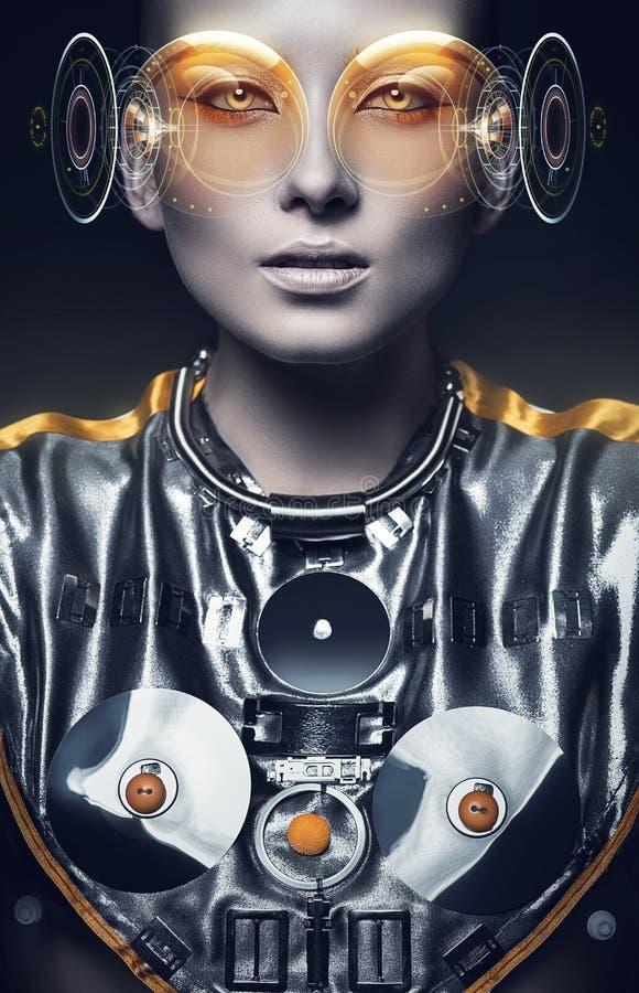 银色衣服和全息图显示的未来派妇女 库存图片