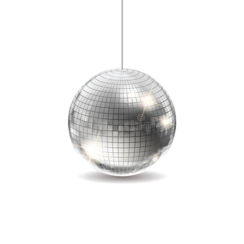 银色迪斯科球传染媒介 库存例证