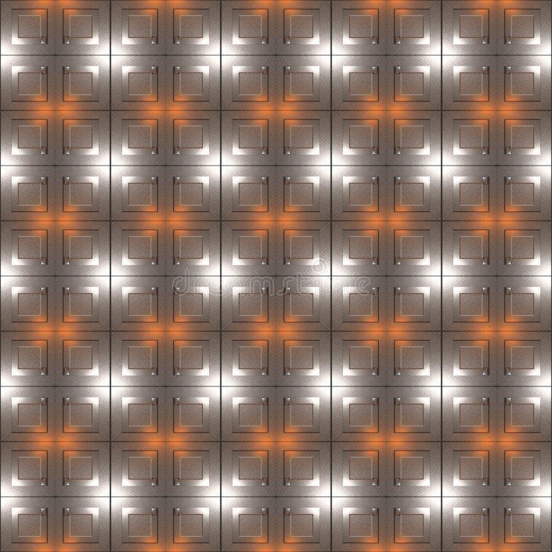 银色金属压印的正方形无缝的样式 皇族释放例证