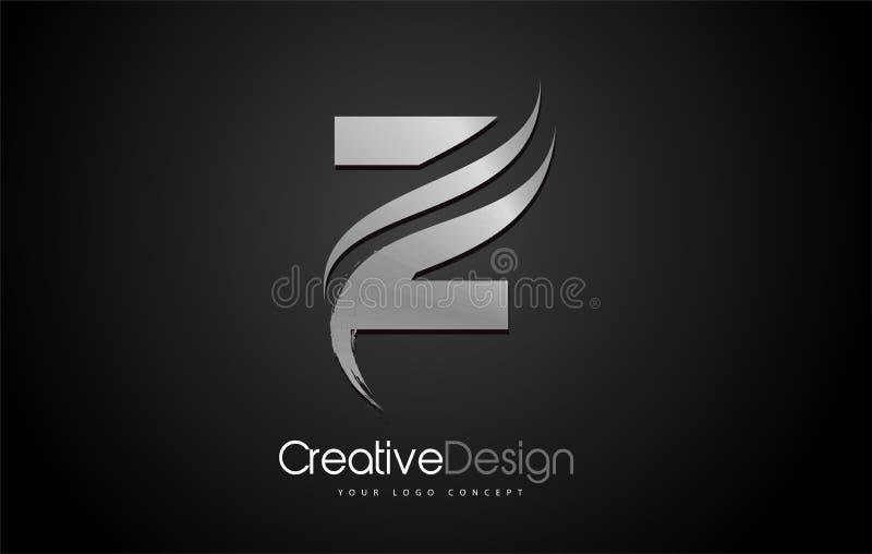 银色金属Z信件商标设计刷子油漆冲程艺术性的黑背景 向量例证