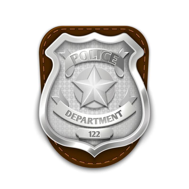 银色钢警察,在白色背景传染媒介例证的安全徽章 皇族释放例证