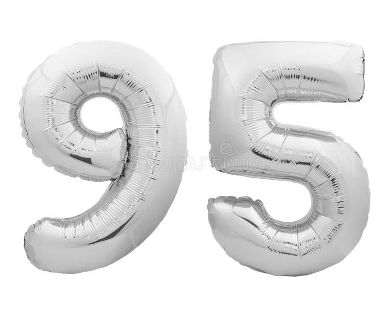 银色镀铬物数字第95九十五由可膨胀的气球制成在白色 库存照片
