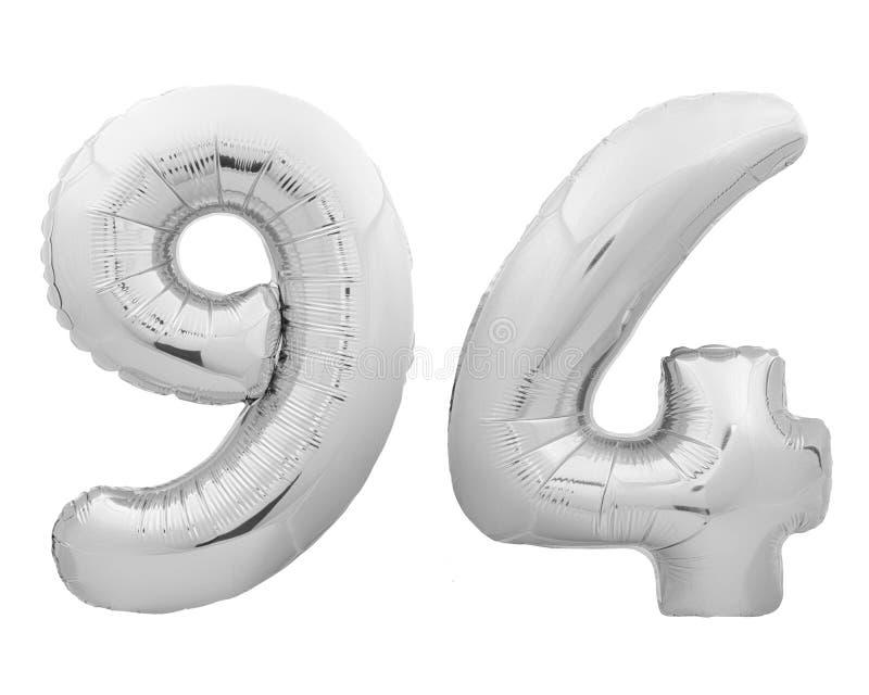 银色镀铬物数字第94九十四由可膨胀的气球制成在白色 图库摄影