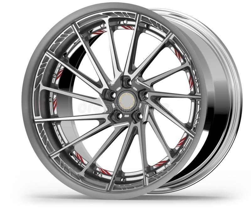 银色镀铬物汽车轮子或Chrome外缘 皇族释放例证