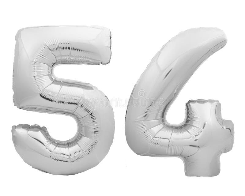 银色镀铬物第54五十四被隔绝的由可膨胀的气球制成在白色 免版税库存照片