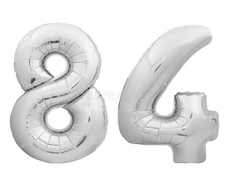 银色镀铬物第84八十四由可膨胀的气球制成在白色 免版税图库摄影