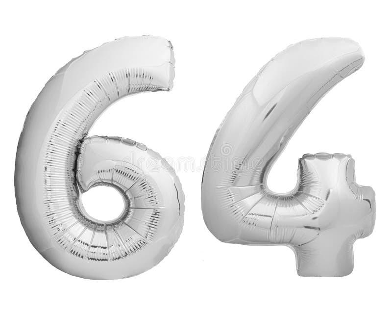 银色镀铬物第64六十四由可膨胀的气球制成在白色 库存图片