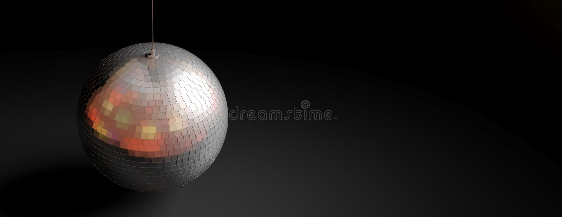 银色镜子迪斯科球在黑背景中,横幅,拷贝空间 3d例证 皇族释放例证