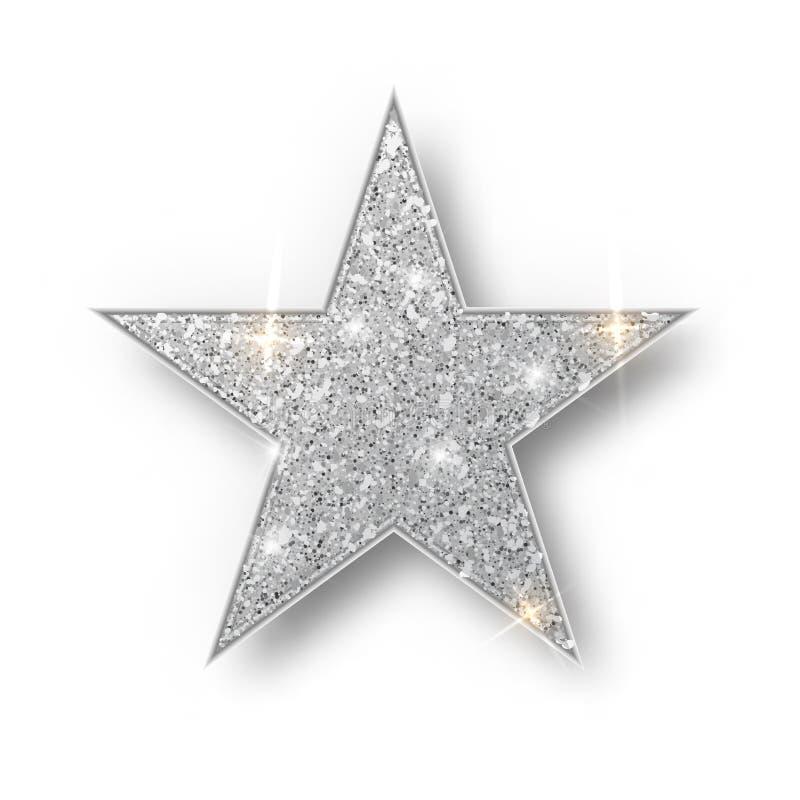 银色闪烁星传染媒介隔绝了 银色闪闪发光豪华设计元素隔绝了 被隔绝的星象 ??s 库存例证