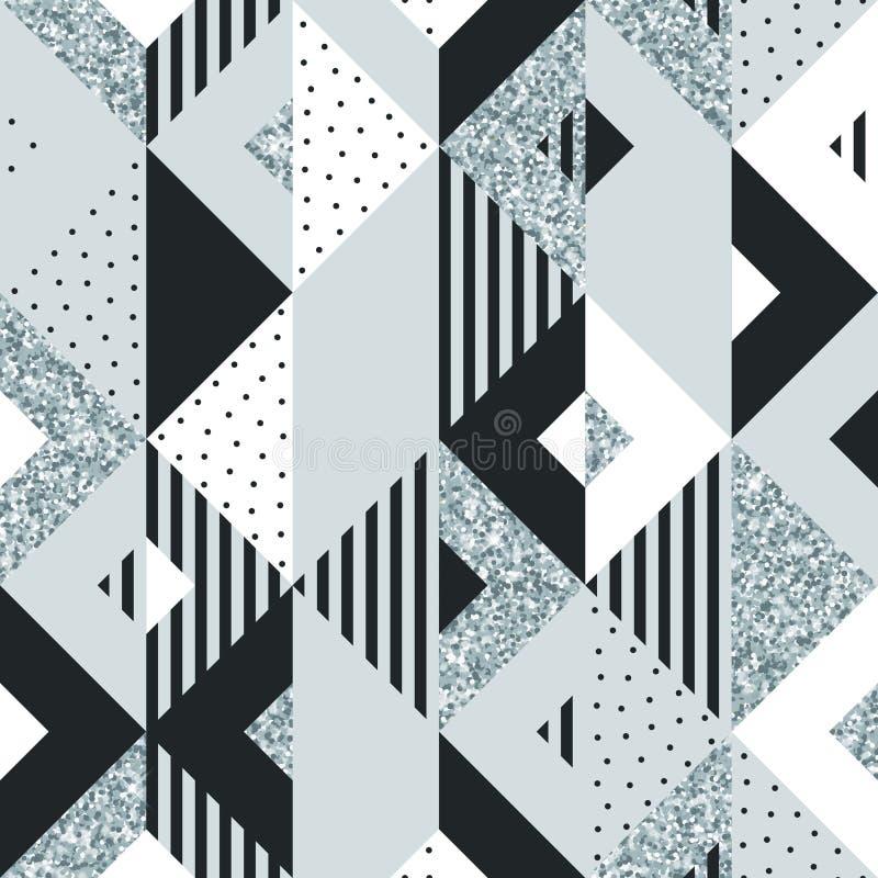 银色闪烁正方形和三角元素抽象几何背景现代时髦设计模板的 传染媒介几何pa 库存例证