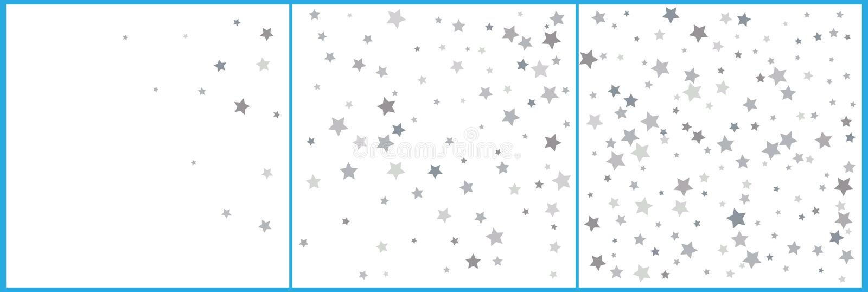 银色闪烁流星 在白色背景的银色闪闪发光星 传染媒介模板新年,圣诞节,生日,党, 库存例证