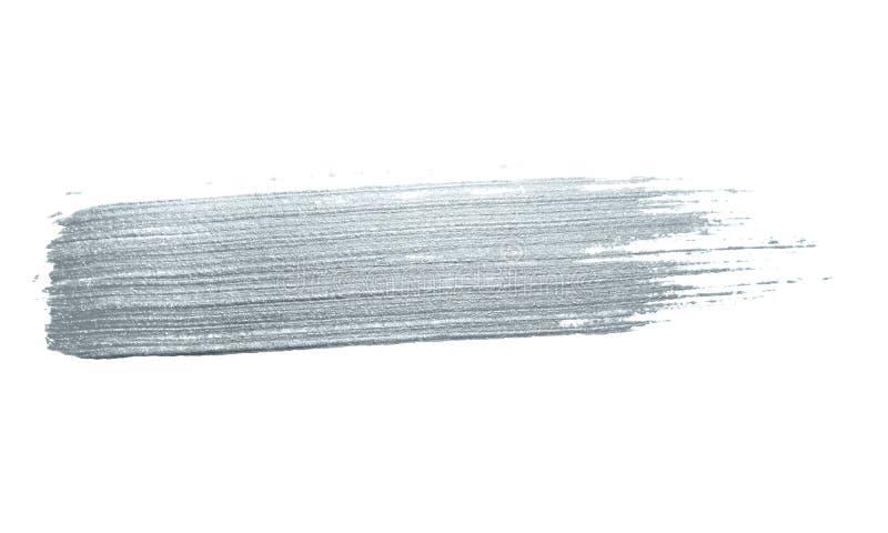 银色闪烁画笔冲程或抽象轻拍污迹与污点纹理在白色背景豪华贺卡设计te的 库存图片