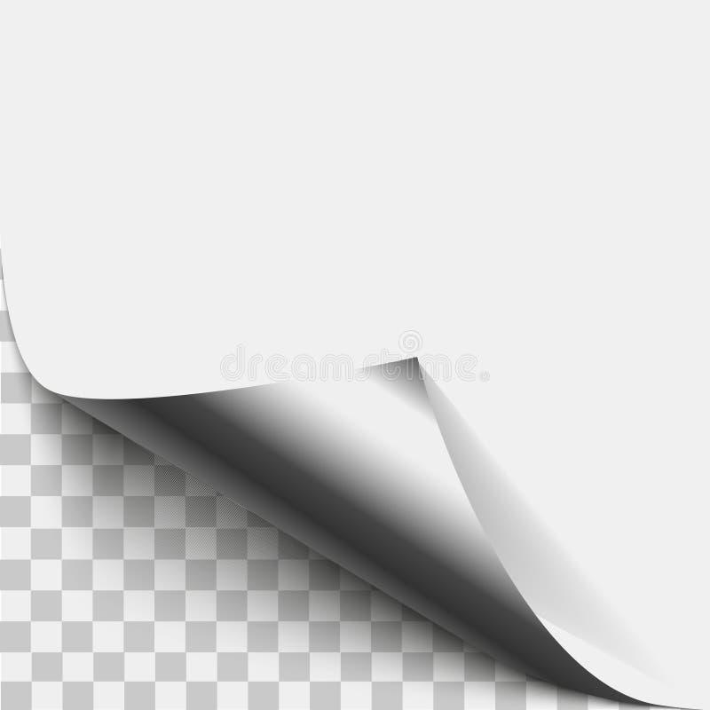 银色页角落果皮 银色页与阴影的卷曲的折叠 被折叠的稠粘的纸笔记空白纸  传染媒介例证贴纸 皇族释放例证
