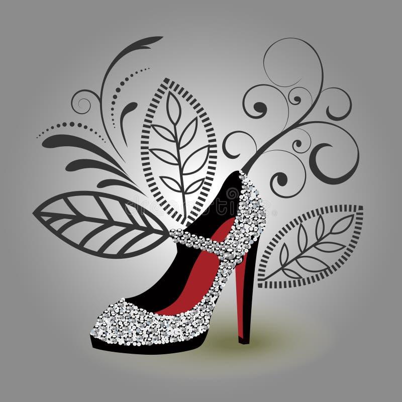 银色魅力鞋子 皇族释放例证