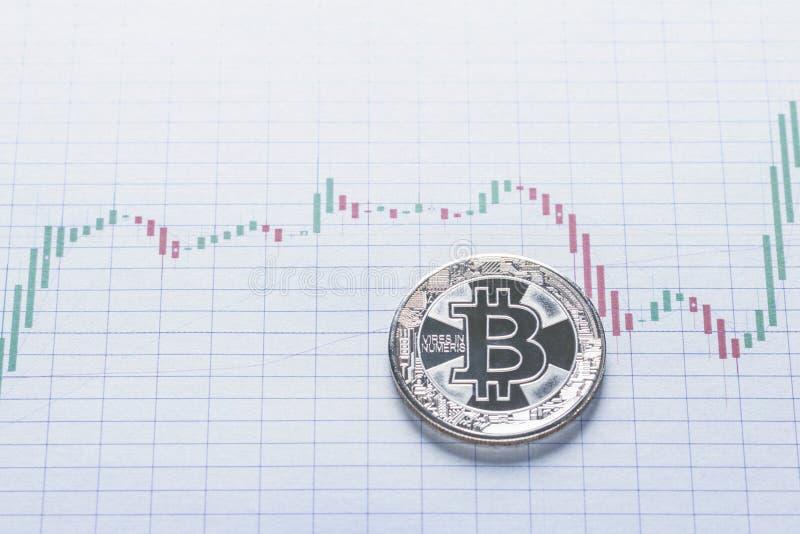 银色Bitcoin硬币贸易概念 图库摄影