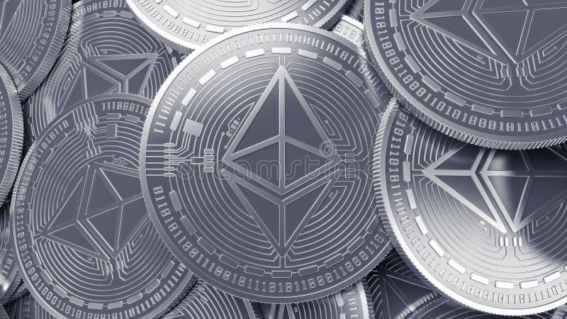 银色Ethereum cryptocurrency采矿概念背景 库存例证