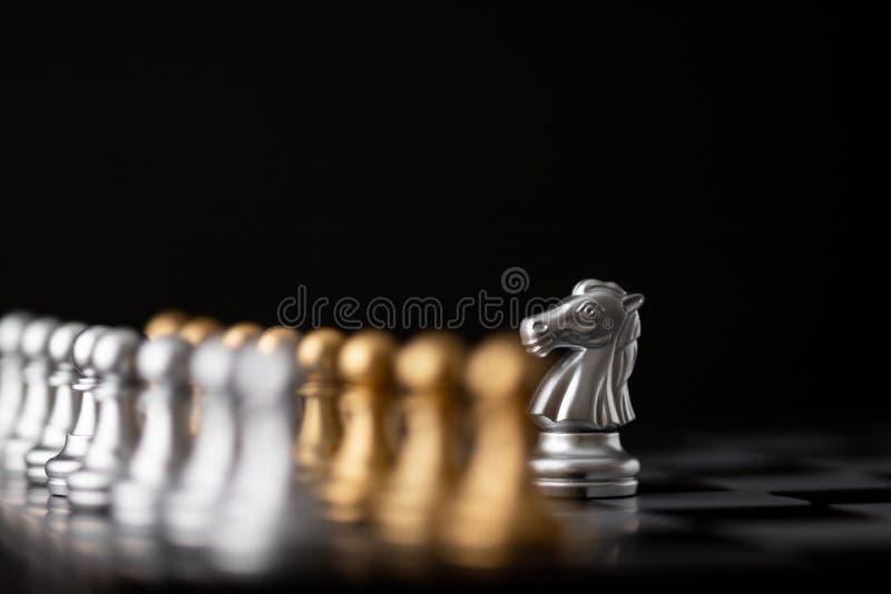 银色hores是棋的领导 免版税库存照片
