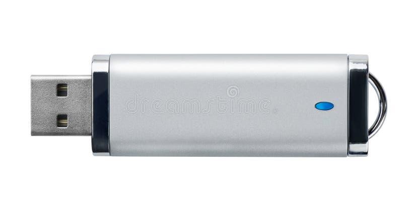 银色USB记忆棍子侧视图  免版税库存图片