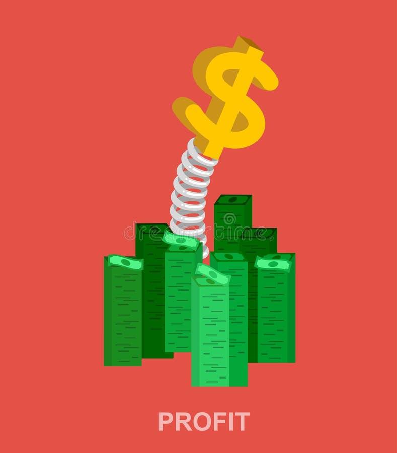 银行、金钱赢利和投资 向量例证