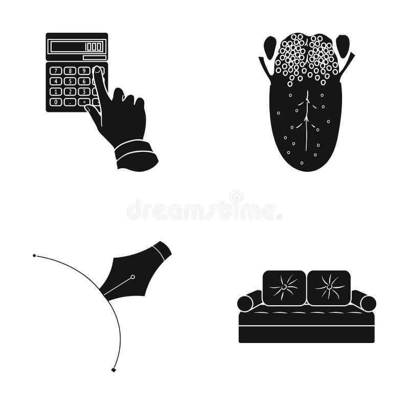 银行、医学、纺织品和其他网象在黑样式 织品,装饰,在集合汇集的家具象 皇族释放例证