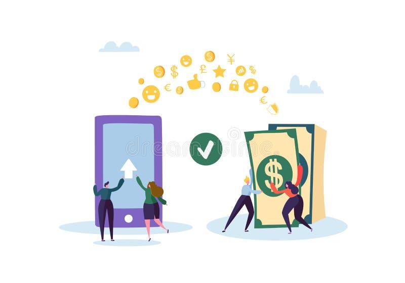 银行业务可能计算机概念费用等在线问题象征 送金钱的平的人字符从在智能手机的流动应用 皇族释放例证