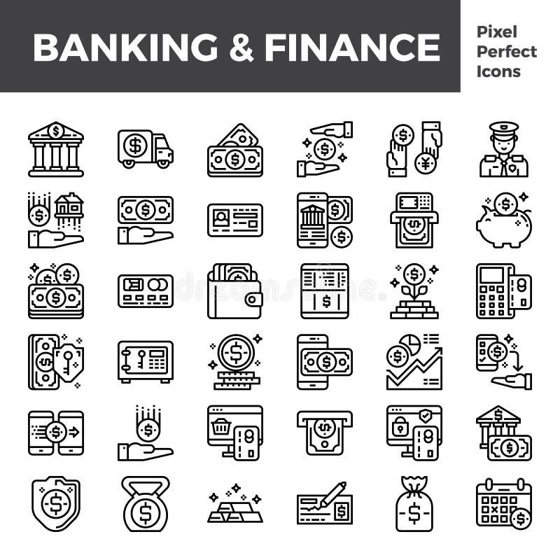 银行业务和财务概述在映象点完善的64px的象基地 库存例证