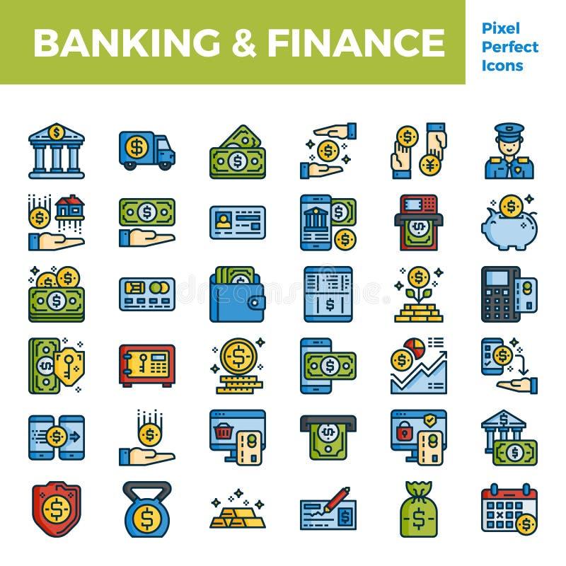 银行业务和财务概述颜色在映象点完善的64px的象基地 库存例证