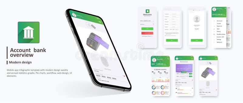 银行业务应用程序UI UX成套工具流动应用程序银行业务 库存例证