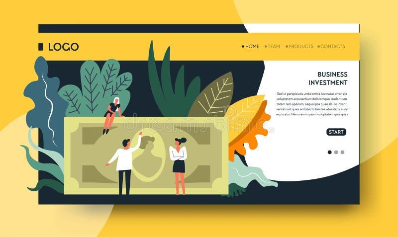 银行业务投资网上网页模板 向量例证