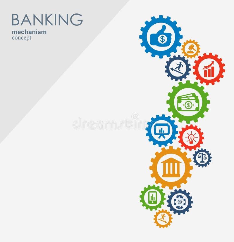银行业务机制 与被连接的齿轮和集成平的象的抽象背景 金钱的标志,战略 库存例证