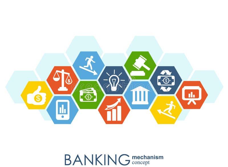 银行业务机制 与被连接的齿轮和集成平的象的抽象背景 金钱的,卡片,银行,事务标志和 库存例证