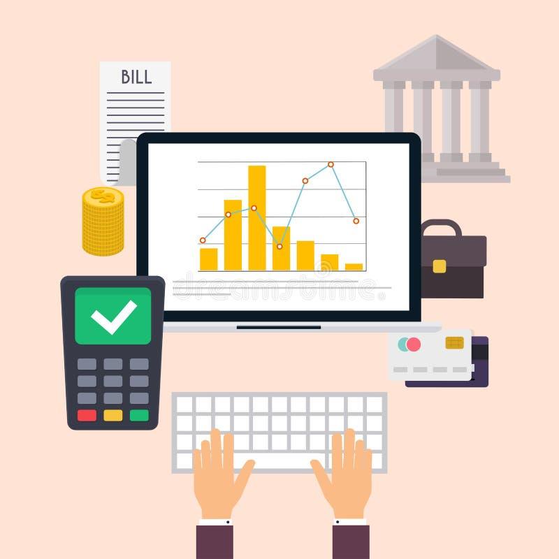 银行业务概念保证金百分比符号 套平的象银行业务 库存例证
