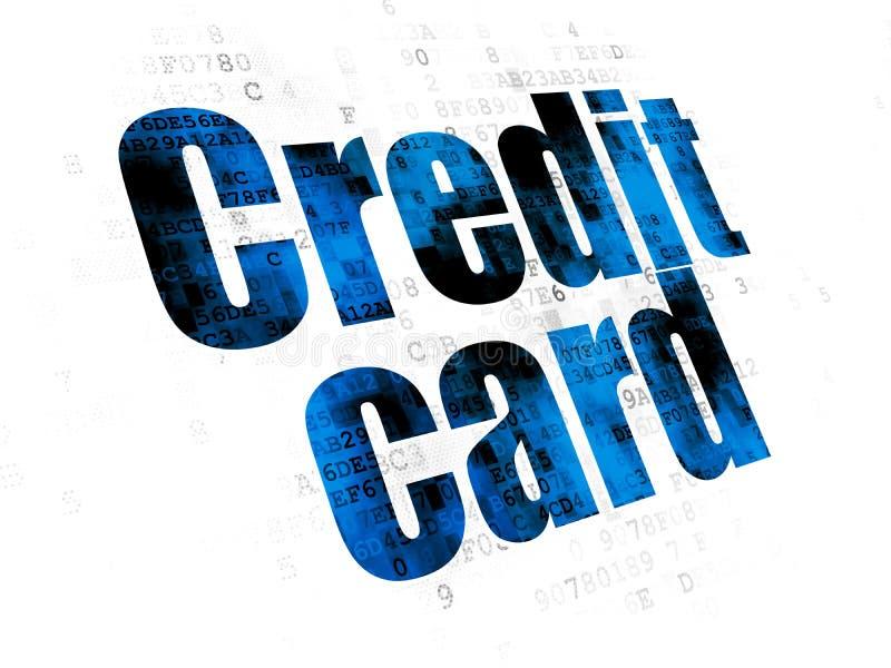 银行业务概念:在数字式背景的信用卡 向量例证