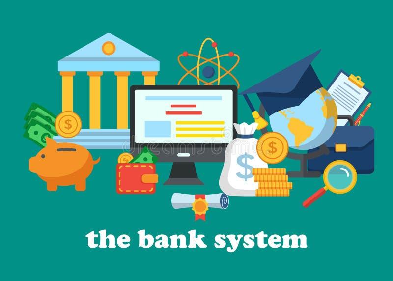 银行业务系统的象 向量例证