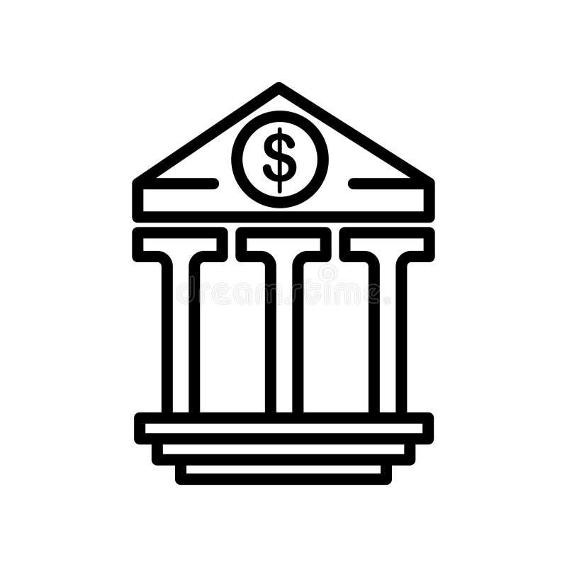 银行业务象在白色背景和标志隔绝的传染媒介标志 库存例证