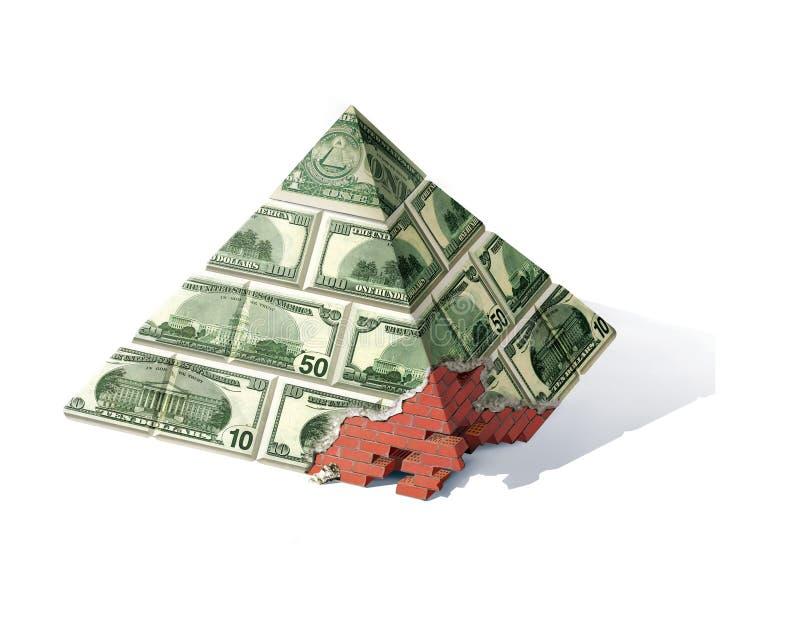 银行业务金字塔 一次危机 红砖金字塔与一个当地被毁坏的角落的 面对笔记金字塔1,10,50和100 皇族释放例证