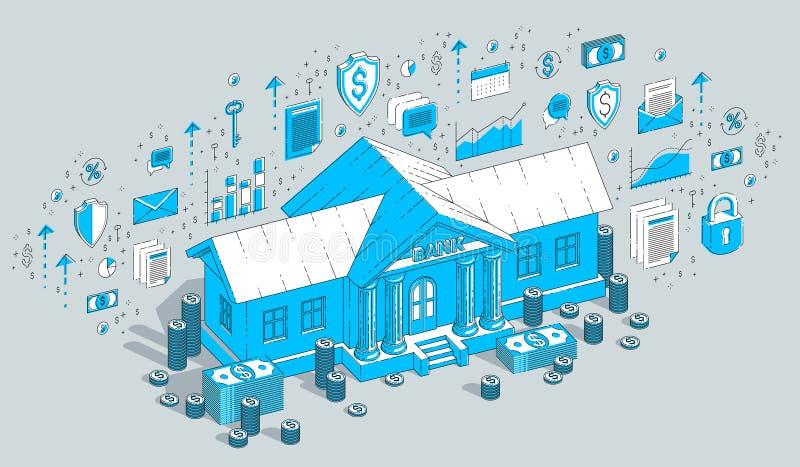 银行业务题材动画片、银行大楼与美元和硬币堆被隔绝在白色背景 3d等量传染媒介的事务 皇族释放例证