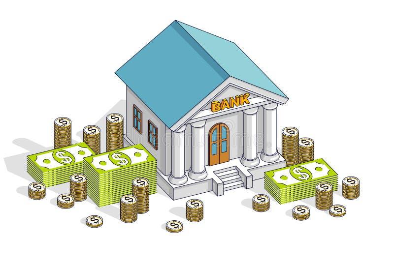 银行业务题材动画片、银行大楼与美元和硬币堆 皇族释放例证