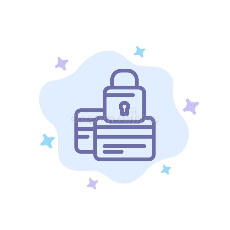 银行业务,卡片,信用,付款,安全,在抽象云彩背景的安全蓝色象 库存例证