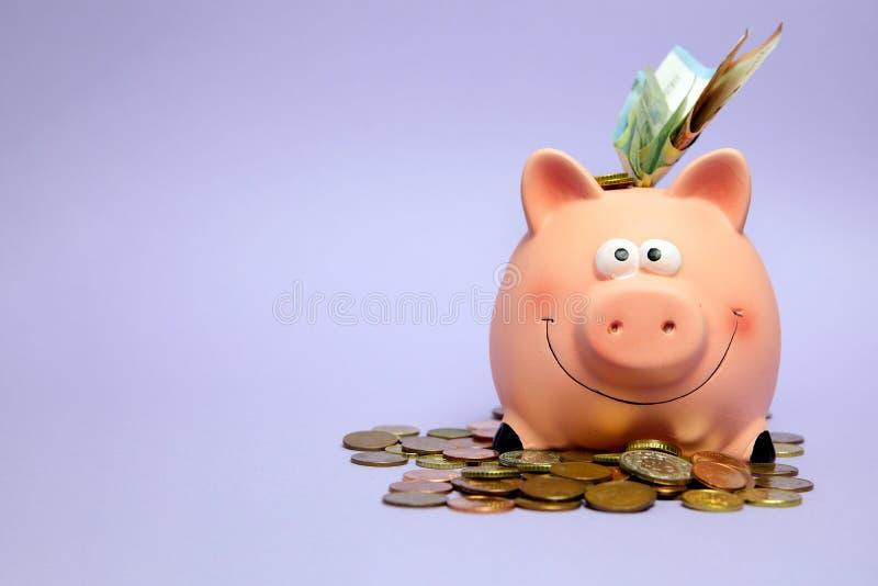 银行业务,存金钱,帐户,财务,硬币包围的微笑的桃红色存钱罐 免版税库存照片