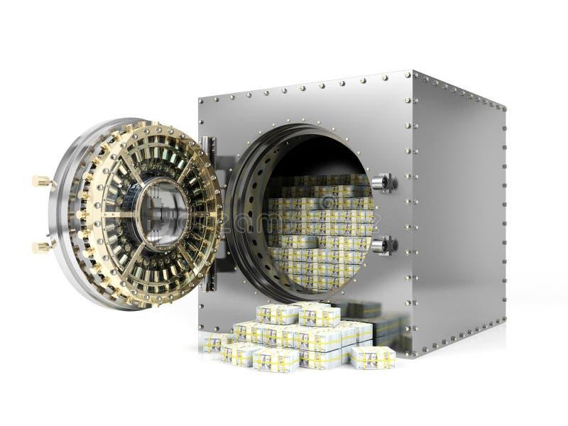 银行保管箱和被打开的银行地下室门显露的美元钞票堆,3D翻译 库存例证