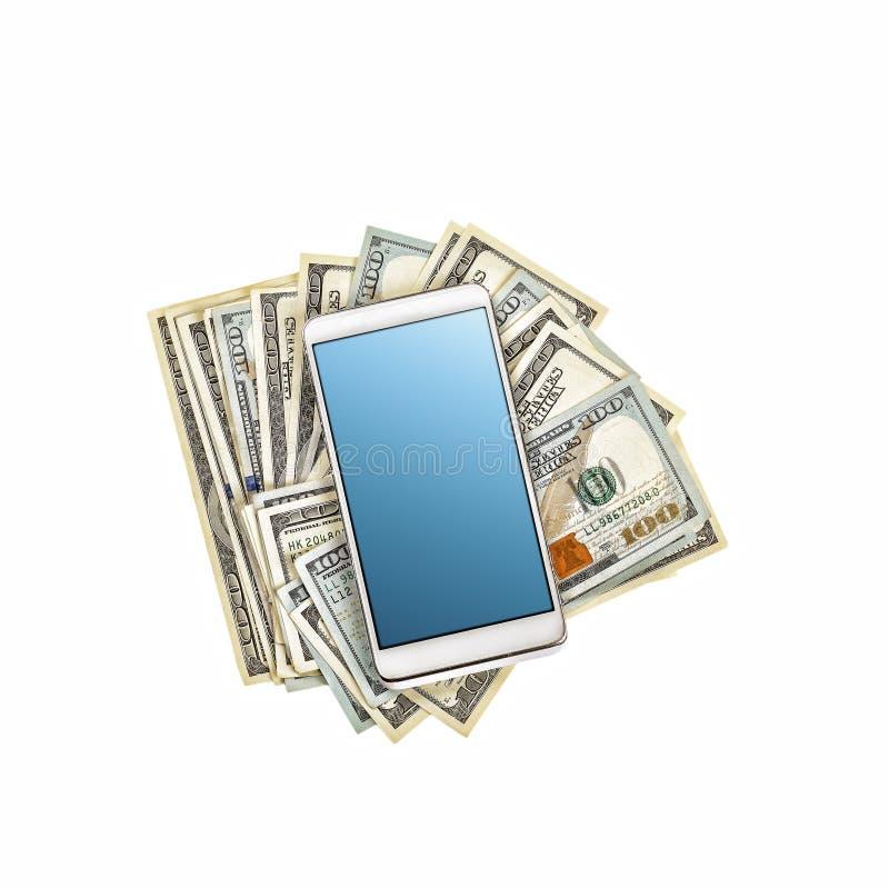 银行信用卡概念赊帐地球互联网映射付款世界 美元,手机,在白色,金钱概念,昂贵的票据的金钱 网上付款技术 免版税库存图片