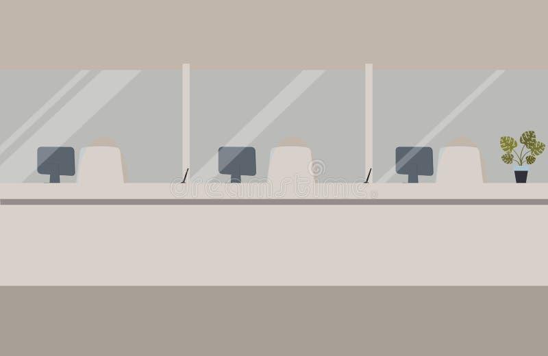 银行办公室内部:与玻璃的银行障碍 典雅的内部财政机关 有银行柜台的霍尔 r 库存例证