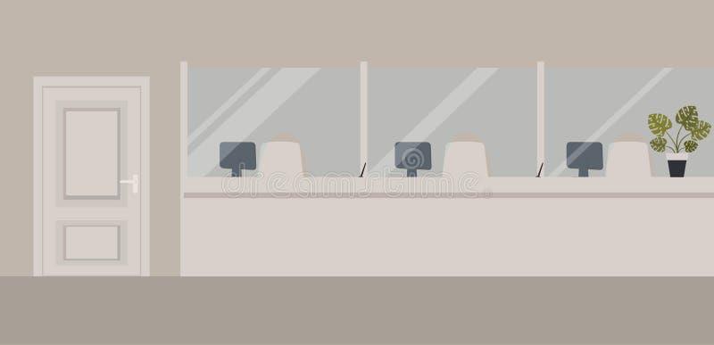 银行办公室内部:与玻璃的银行障碍 典雅的内部财政机关 有银行柜台的霍尔 r 向量例证