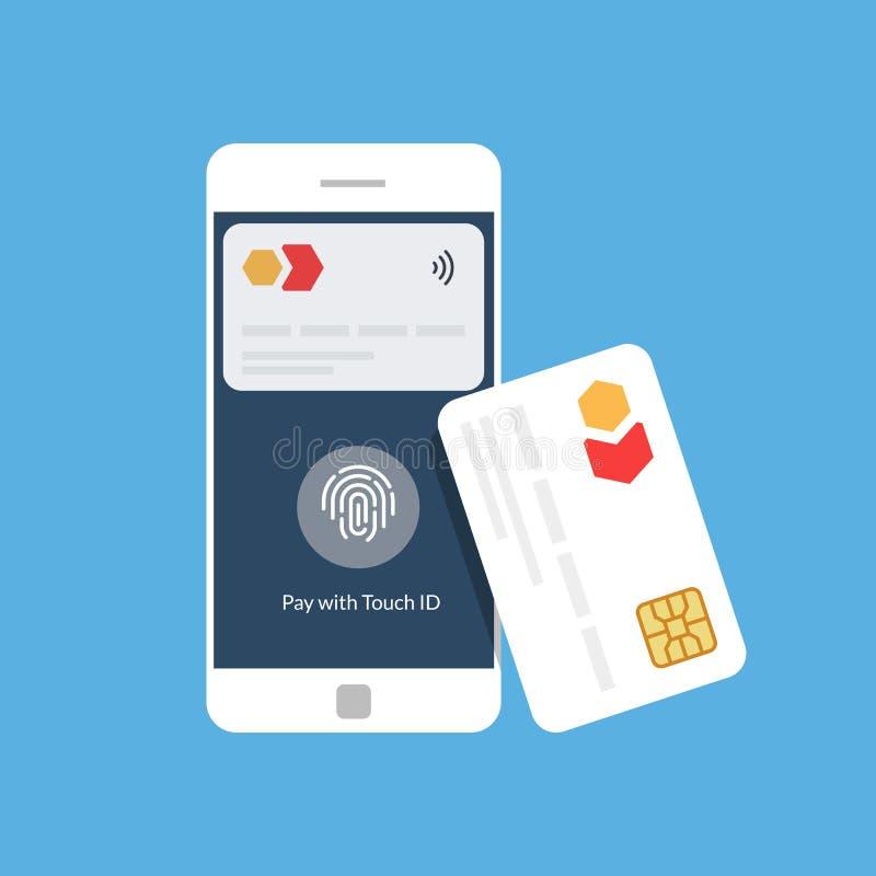 银行卡和流动付款 在领域通信附近 NFC 平的传染媒介例证 向量例证