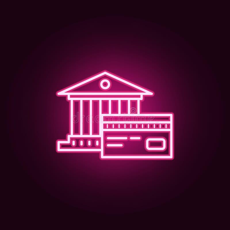 银行和信用卡霓虹象 银行业务集合的元素 网站的简单的象,网络设计,流动应用程序,信息图表 向量例证