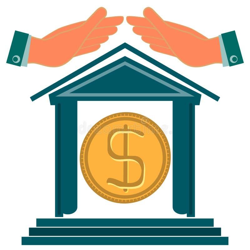 银行和手的大厦 向量例证