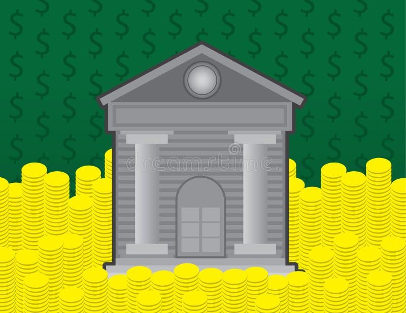银行和硬币 皇族释放例证