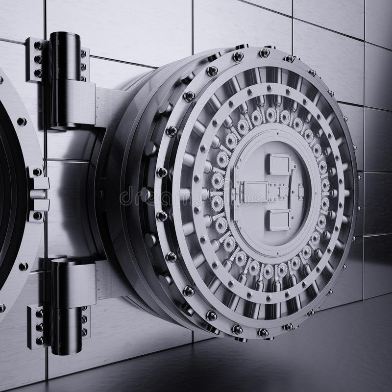 银行地下室门 库存例证